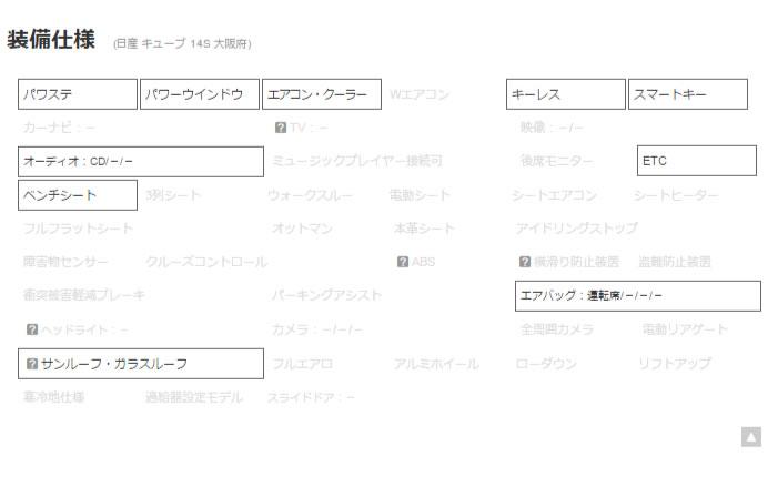 キューブ 14S サンルーフ ETC スマートキー 大阪 の中古車詳細   中古車なら【カーセンサーnet】_r3_c1